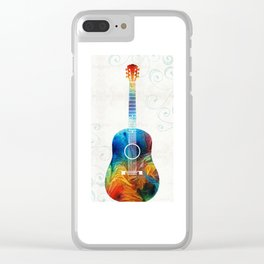 Colorful Guitar Art by Sharon Cummings Clear iPhone Case