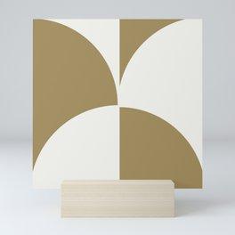 Diamond Series Round Checkers White on Gold Mini Art Print