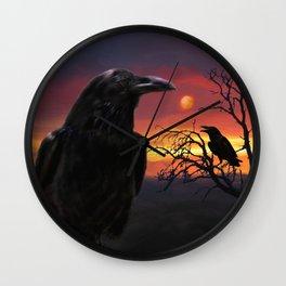 Raven Sunset Wall Clock
