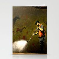 banksy Stationery Cards featuring Banksy - Removing Historys Art by Marc Ash