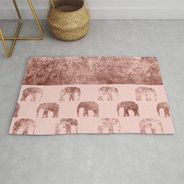 Rose Gold Faux Crushed Velvet Elephant Pattern Rug