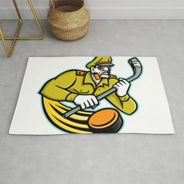 Army General Ice Hockey Sports Mascot Rug