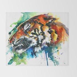 Orange Mad Tiger Watercolor Throw Blanket