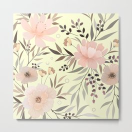 Modern, Boho, Floral Prints, Soft Yellow and Pink Metal Print