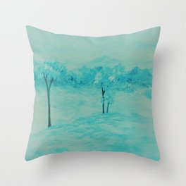 Teal Abstract Landscape Throw Pillow