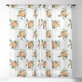 Blooming Citrus Watercolor Sheer Curtain