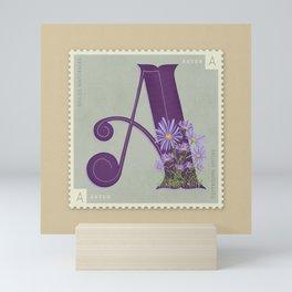 Sellos Naturales. Letra A. Flor: Áster. Mini Art Print