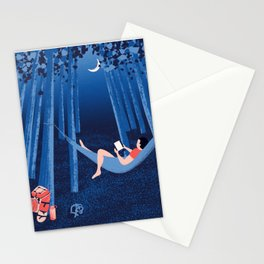 Reading alone in the woods at night Stationery Cards
