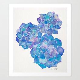 Rosette Succulents – Blue Palette Art Print