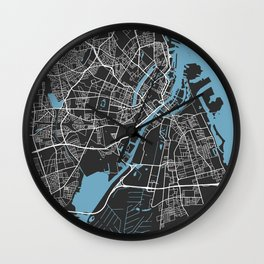 Copenhagen Map | Denmark | Black & Blue Colors | More Colors, Review the Collections Wall Clock