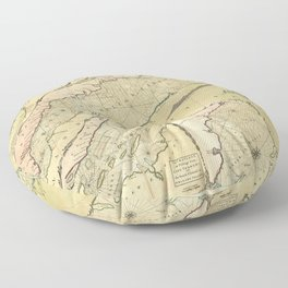 Map of the Saint Lawrence River (1771) Floor Pillow