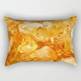 """Amber Quartz Solar Orange Crystal Opal Gem Stone"" Rectangular Pillow"