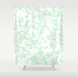 Spots - White and Pastel Green Shower Curtain
