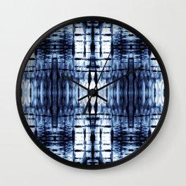 Blue Shibori Plaid Wall Clock