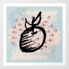 Abstract art. Brushstrokes. Apple drawing Art Print