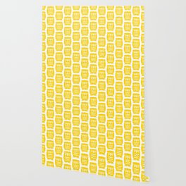 Mid Century Owl Pattern Yellow Wallpaper