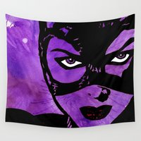 catwoman Wall Tapestries featuring Catwoman Stencil by Brietron Art
