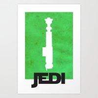 jedi Art Prints featuring Vintage Jedi by Fletcher McKinney