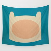 finn Wall Tapestries featuring Minimalist Adventure Time Finn by lalalaokay
