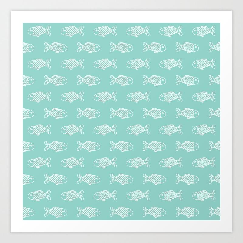 Fish Nautical Minimal Illustration Pattern Nursery Gender Neutral Home Decor Art Print