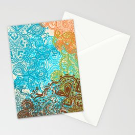 Indian boho pattern with ornament in blue, ornage and green Stationery Cards