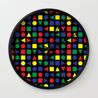 mid century Wall Clocks featuring Mid Century Geometric by dukepope