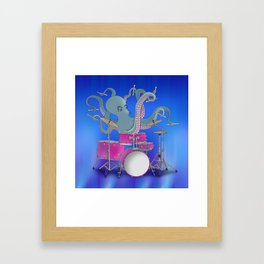 Octopus Playing Drums - Blue Framed Art Print