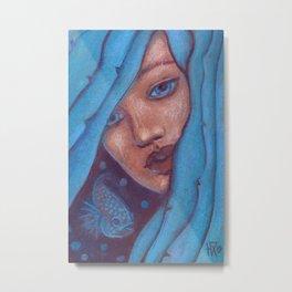 Blue Hair, Mermaid Portrait Metal Print