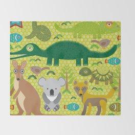 Animals Australia snake, turtle, crocodile, alliagtor, kangaroo, dingo Throw Blanket