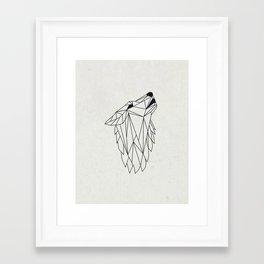 Geometric Howling Wild Wolf Framed Art Print