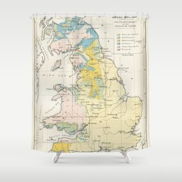 Vintage Map of the Coal Fields of Great Britain Shower Curtain