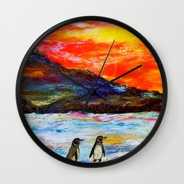 Beautiful Penguins With Sea Lion By The Blue Ocean Painting Wall Clock