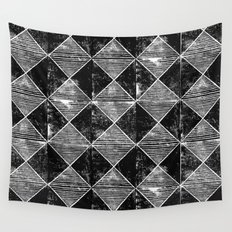 Chequers I Black Wall Tapestry