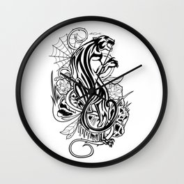 Panther - Black & White Wall Clock