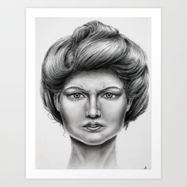 Untitled - charcoal drawing -pretty girl, beauty, woman, angry, gibson girl style, traditional art Art Print
