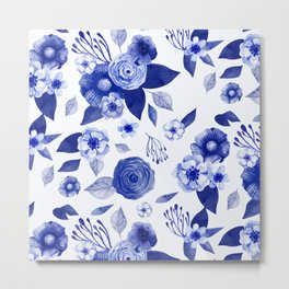 blue and white watercolor floral Metal Print