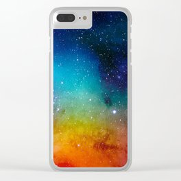 Colorful watercolor Galaxy Decoration Abstract Clear iPhone Case