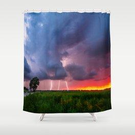 Quad Strike - Lightning Rains Down on the Oklahoma Landscape Shower Curtain