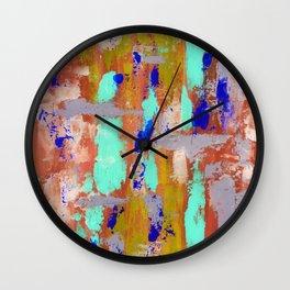 Blue spots on orange Wall Clock