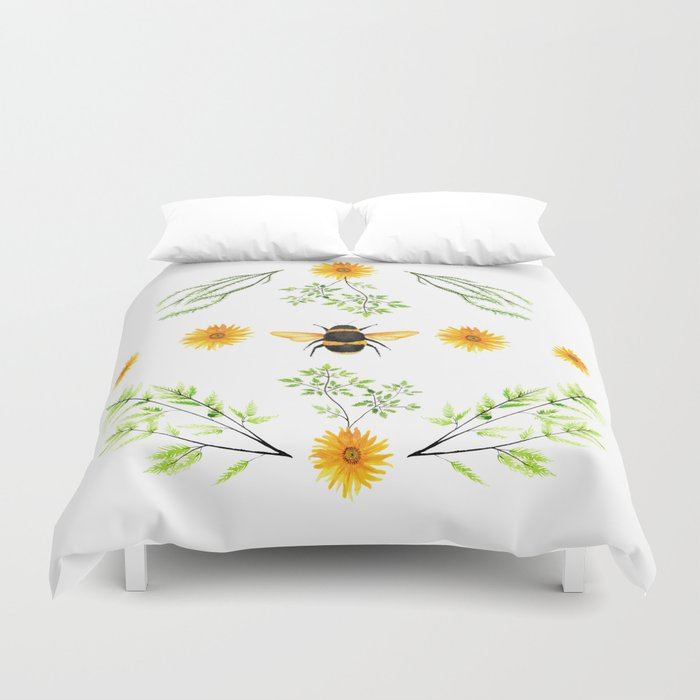 Bees in the Garden v.3 - Watercolor Graphic Duvet Cover
