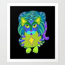 Peacock Tabby Noire Art Print