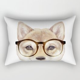 Shiba inu with glasses Dog illustration original painting print Rectangular Pillow