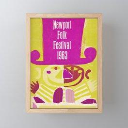 Vintage 1963 Newport Folk Festival Advertisement Poster Framed Mini Art Print