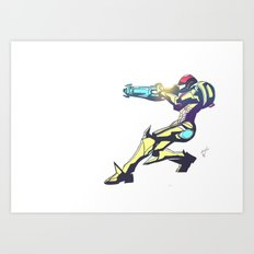 Samus Aran Color V2 Art Print