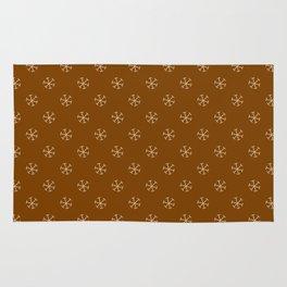 Tan Brown on Chocolate Brown Snowflakes Rug