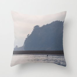 Lonely black-necked swan Throw Pillow