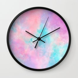 Bright pink turquoise unicorn watercolor paint background Wall Clock