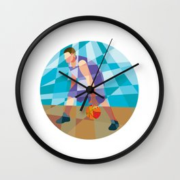 Basketball Player Dribbling Ball Circle Low Polygon Wall Clock