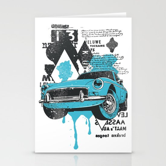 Blue Car Stationery Cards