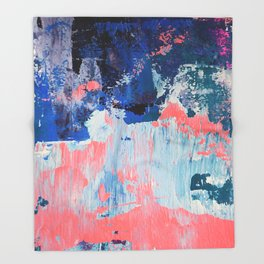 Mixtapes and Bubblegum: a colorful abstract piece in pinks and blues by Alyssa Hamilton Art Throw Blanket